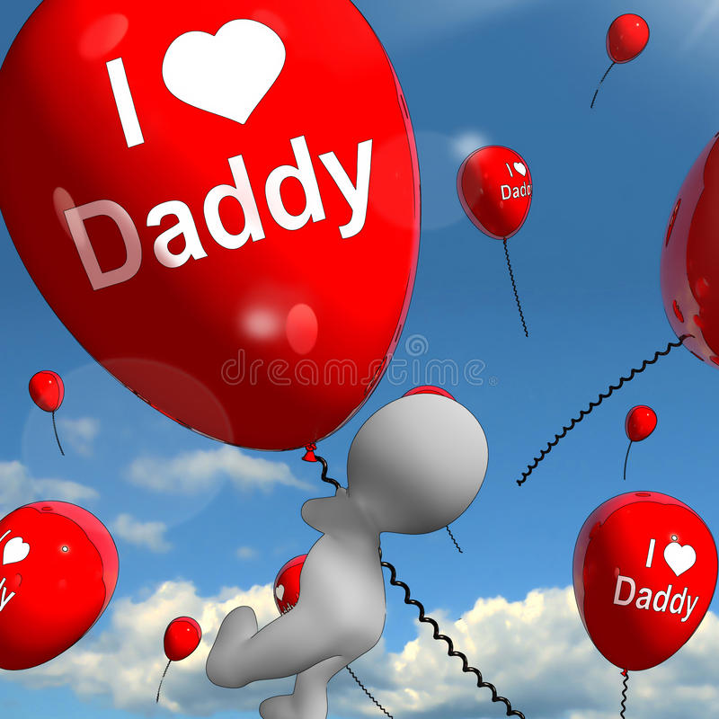 I Love Daddy Balloons Shows Affectionate Feelings for Dad. I Love Daddy Balloons Showing Affectionate Feelings for Father stock illustration