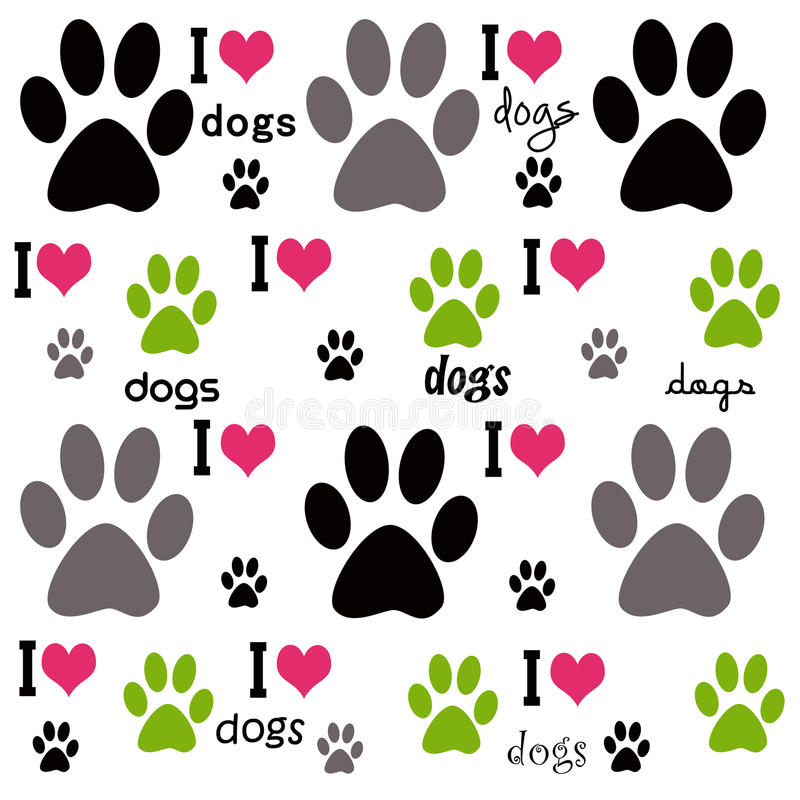 I Love Dogs Background stock illustration