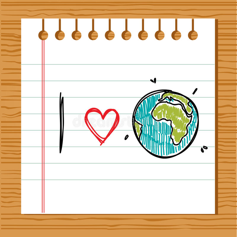 Download I love earth stock vector. Image of learn, earth, drawn - 19348234