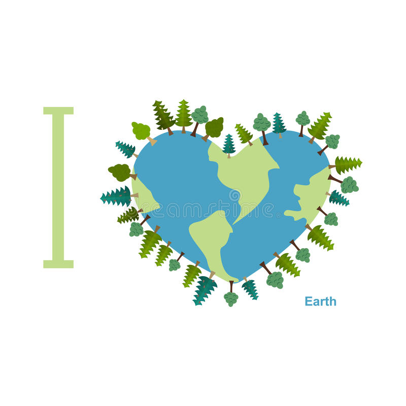 I love Earth. Planet sweetheart with trees. Vector illustration stock illustration