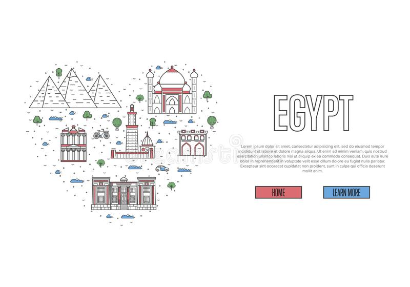 I Love Egypt Poster In Linear Style Stock Vector Illustration Of