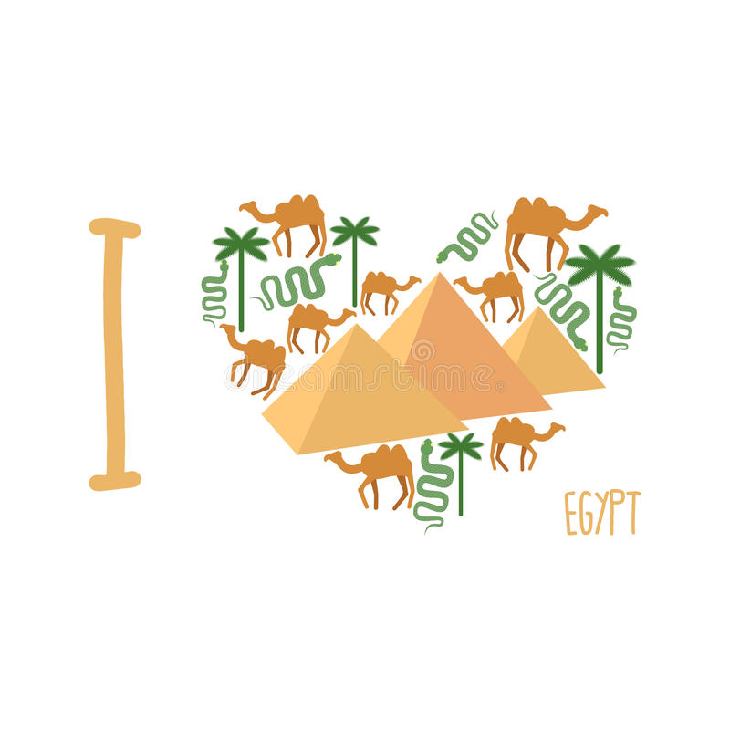 Egyptian Pyramids And Sphinx Color Vector Icon, Sign Stock