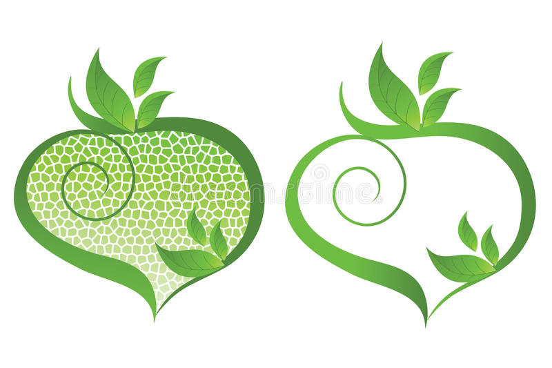 I Love the environment icon. Heart icon with leaves and coil representing the environment royalty free illustration