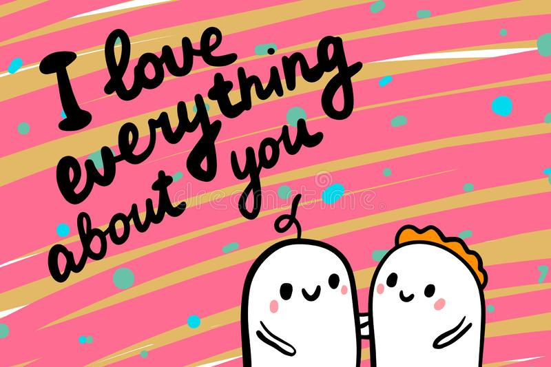 I love everything about you hand drawn vector illustration in cartoon style minimalism on textured background, couple holding. Lettering royalty free illustration