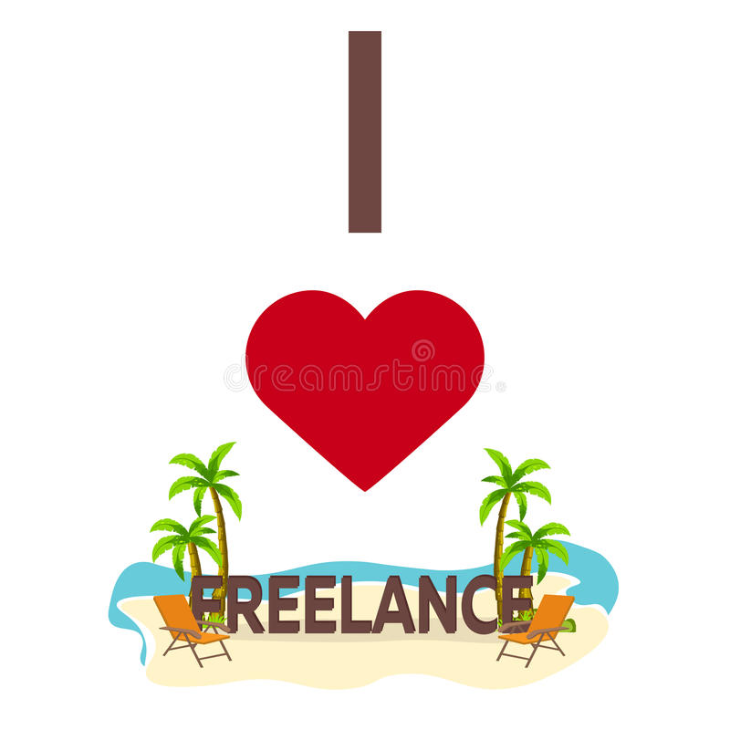 Free I Love Freelance. Travel. Palm, Summer, Lounge Chair. Vector Flat Illustration. Royalty Free Stock Images - 87116049