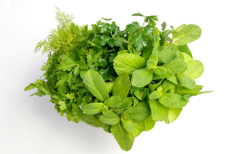 I Love fresh herbs - Heart-shaped bouquet of green spices royalty free stock image