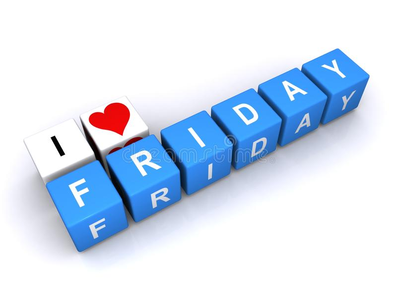 I love Friday. An illustration with letter blocks forming the phrase I love Friday royalty free stock photo
