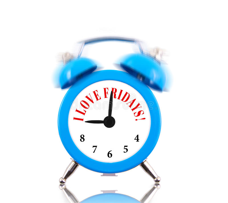 I love Fridays! Alarm clock stock images