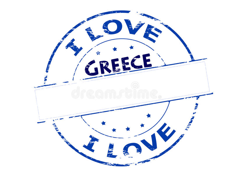 I love Greece. Rubber stamp with text i love Greece inside, vector illustration royalty free illustration
