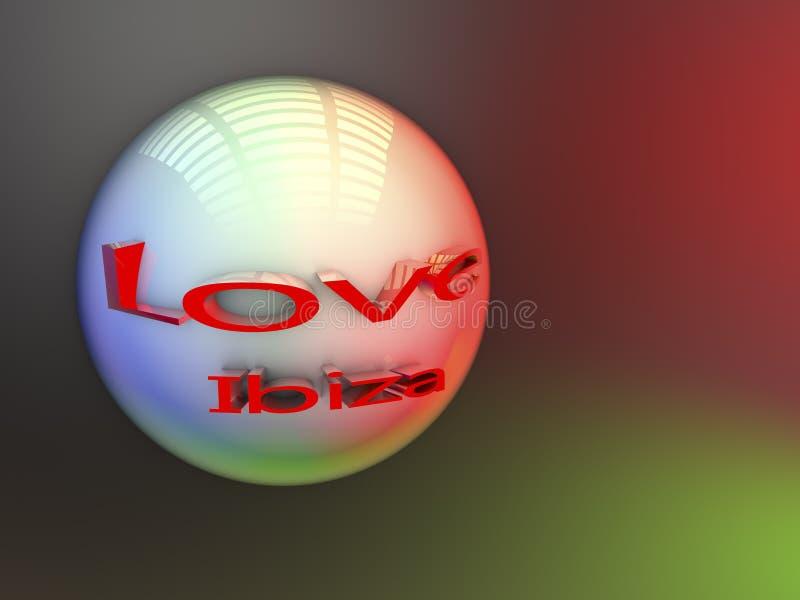 I love Ibiza - Balearic Islands in 3D illustration vector illustration