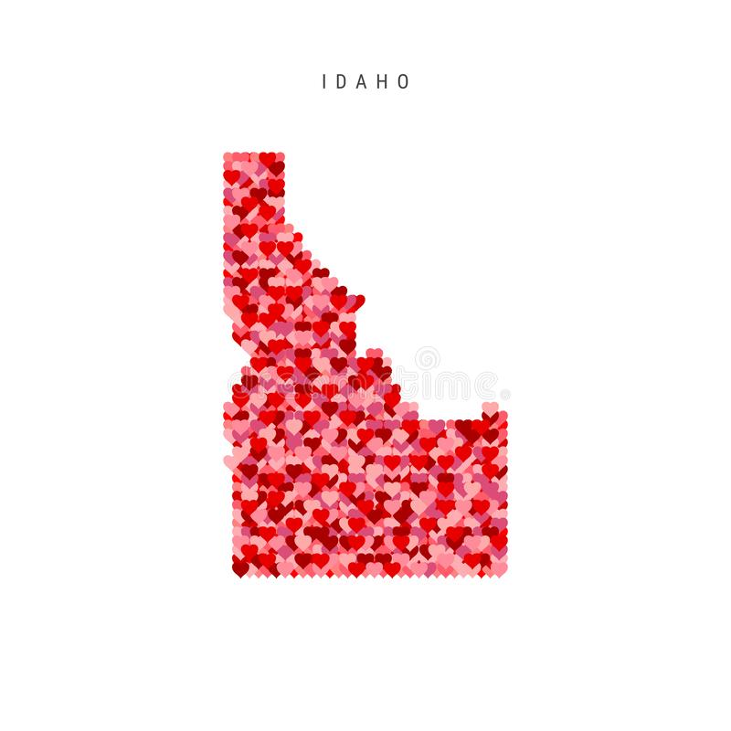 I Love Idaho. Red Hearts Pattern Vector Map of Idaho. I Love Idaho. Red and Pink Hearts Pattern Vector Map of Idaho Isolated on White Background royalty free illustration
