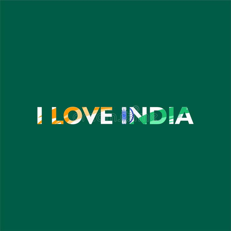 I love india. Said confession. With abstract indian flag shape on text. royalty free illustration