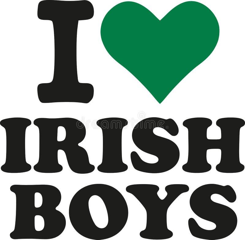I love irish boys with green heart. Vector stock illustration