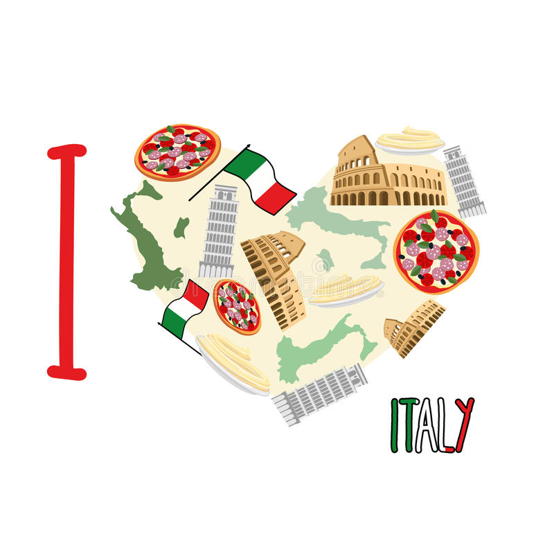 I love Italy. Symbol heart of attractions of Italy: pizza and vector illustration