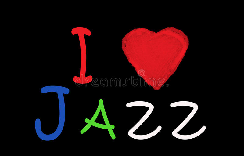 I love jazz on redthea blackbord. vector illustration