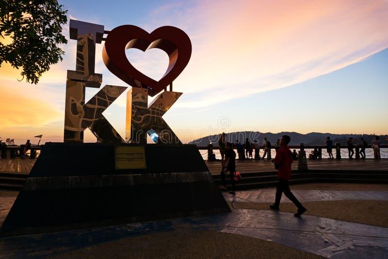 I Love KK landmark in Kota Kinabalu. Kota Kinabalu, Malaysia - August 01, 2017: Back lit of the new landmark I LOVE KK at sunset.The city's new landmark at royalty free stock photography