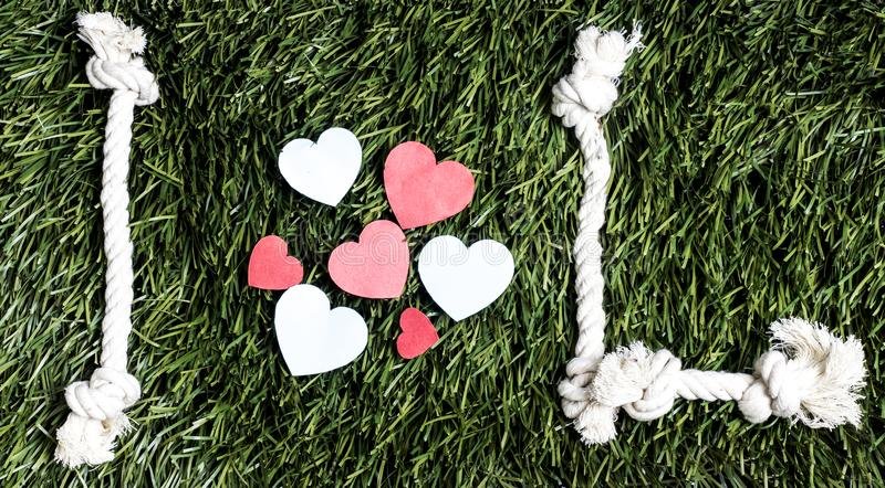 I love L transcription made from ropes on grass background. I love L transcription made from ropes on grass background royalty free stock photo