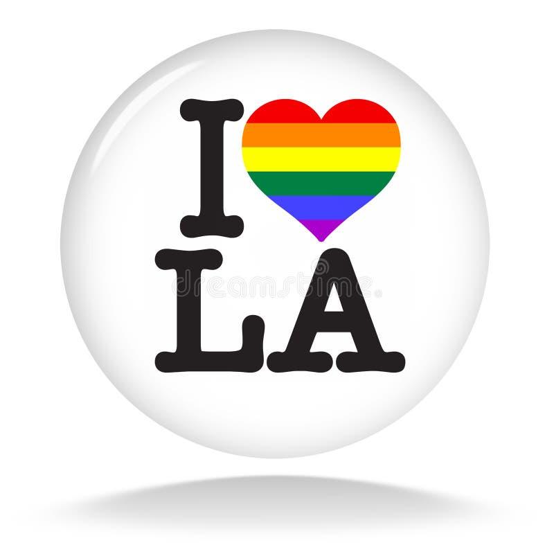 I love LA Los Angeles Heart Rainbow Flag LGBT vector illustration
