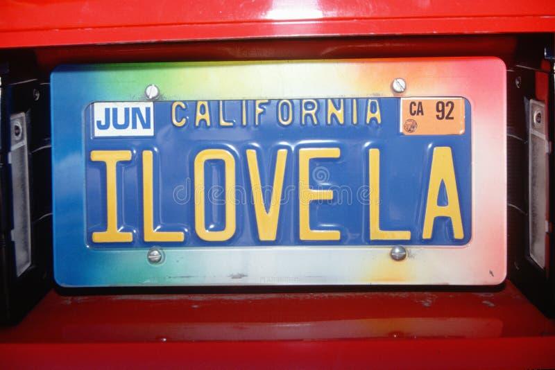 I Love LA Vanity License Plate stock image