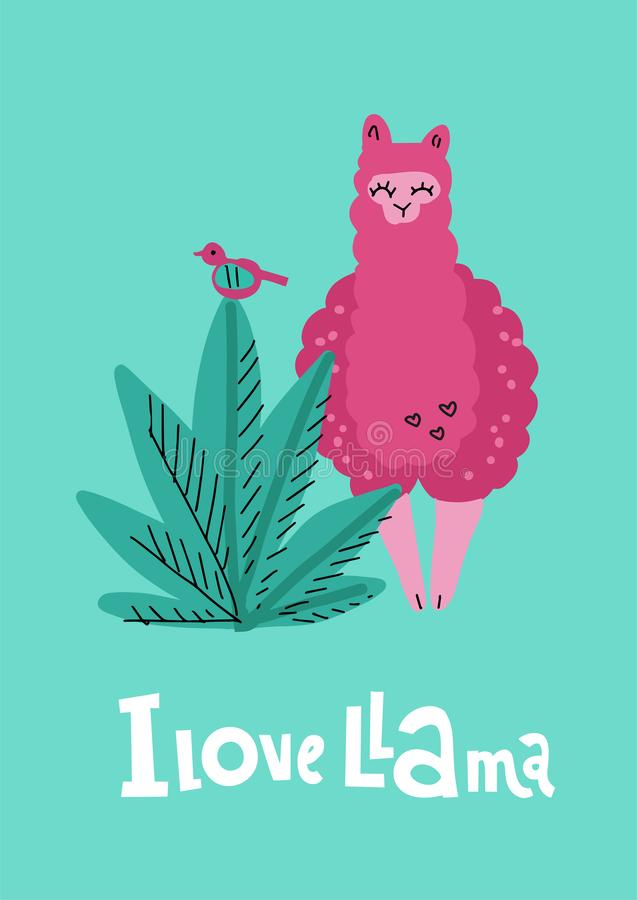 I love llama greening card with pink hand drawn alpaca with plant, bird and lettering qoute. Vector baby animal illustration for royalty free illustration