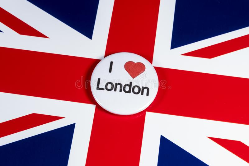 I Love London. LONDON, UK - APRIL 27TH 2018: An I Love London badge pictured over the UK flag, on 27th April 2018 stock image