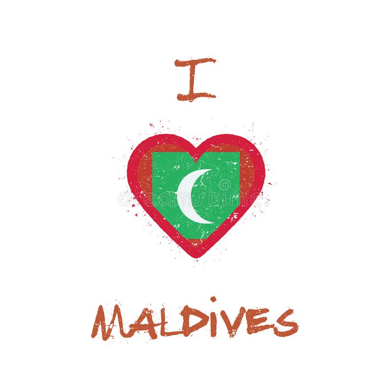 I Love Maldives T Shirt Design Stock Vector Illustration Of Messy