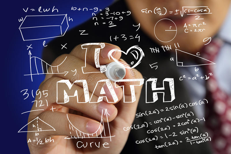 I Love Math. Educational concept image of a happy teacher holding marker and write I Love Math with mathematics formulas doodle stock photos