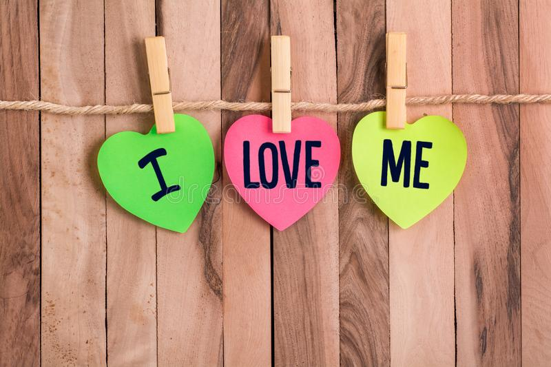 I love me heart shaped note stock images