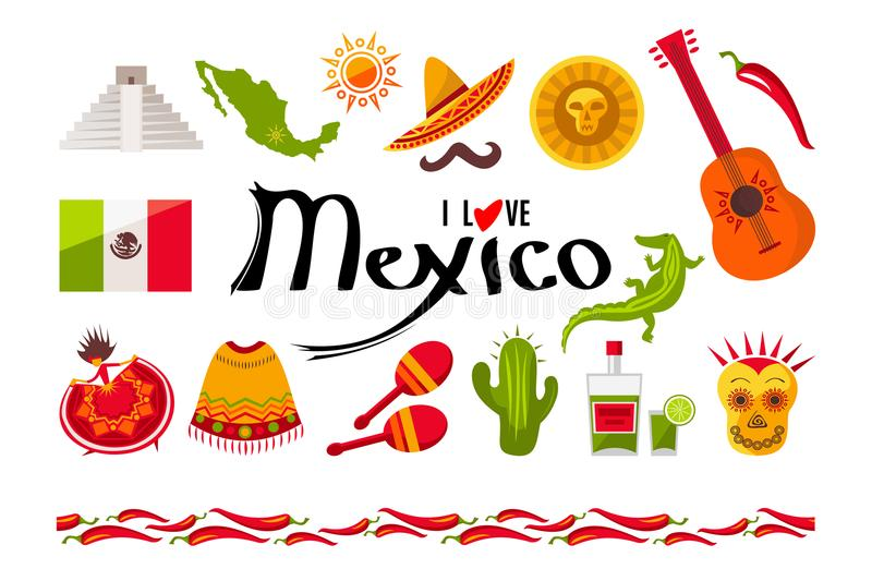 I love Mexico icon set vector illustration