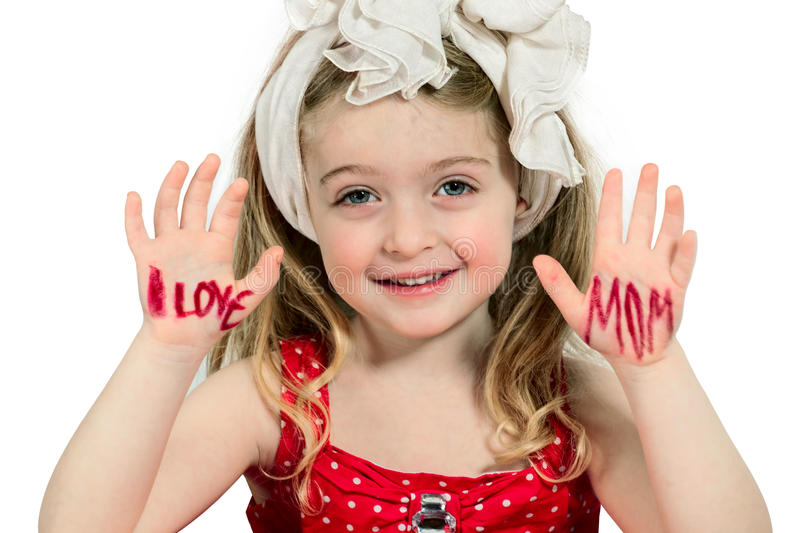 I Love Mom!!!. Five year old Preschooler Girl with hands painted I Love Mom royalty free stock images