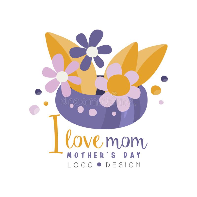I love Mom logo design, Happy Mothers Day creative label with flowers for banner, poster, greeting card, shirt, hand stock illustration