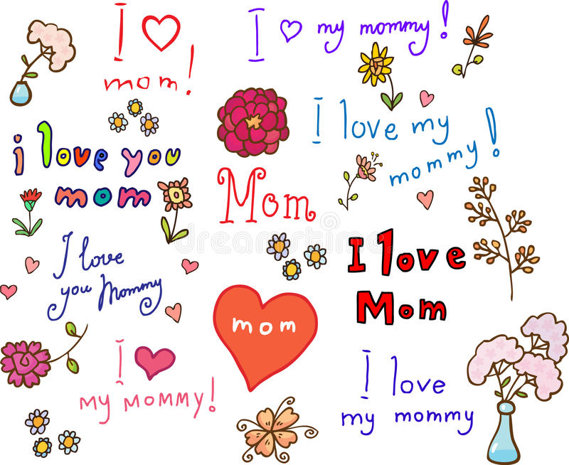I love mom! set royalty free illustration