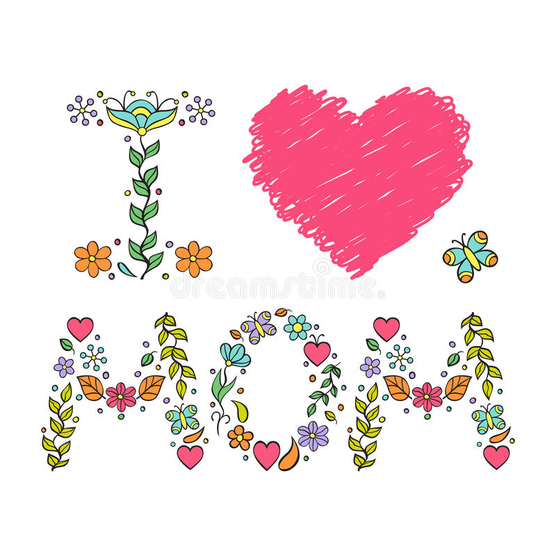 I love mom vector illustration