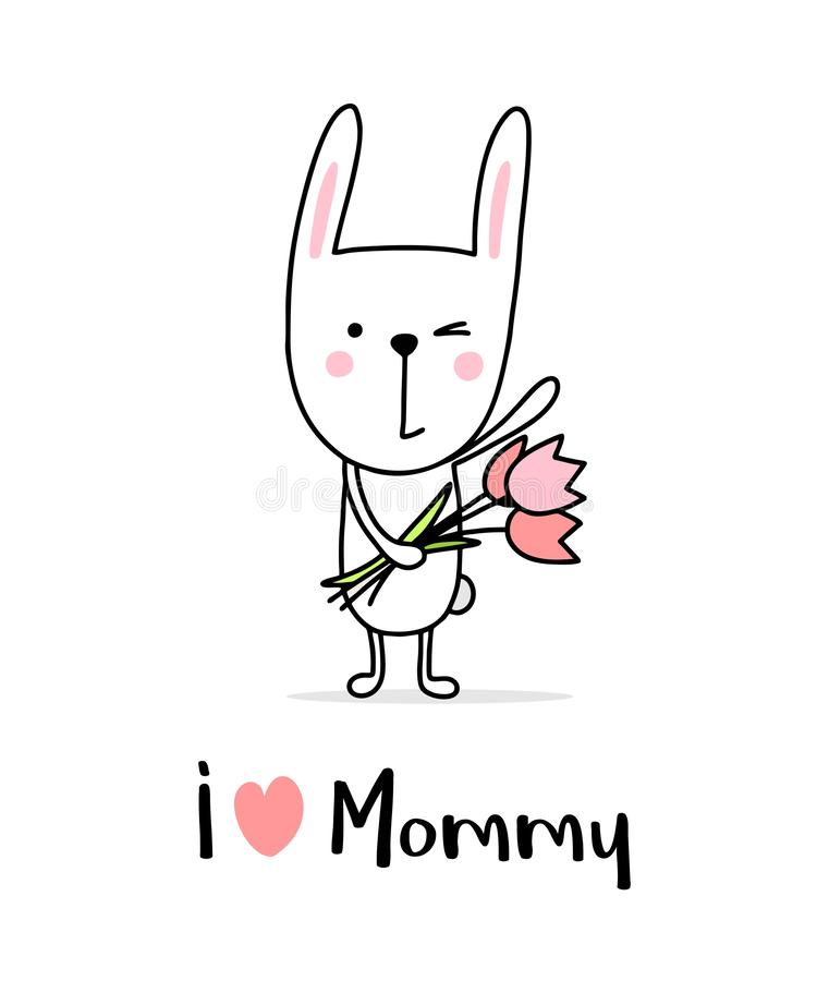 I love mommy poster with cute bunny boy. Cartoon flat vector illustration Mother`s Day card royalty free illustration