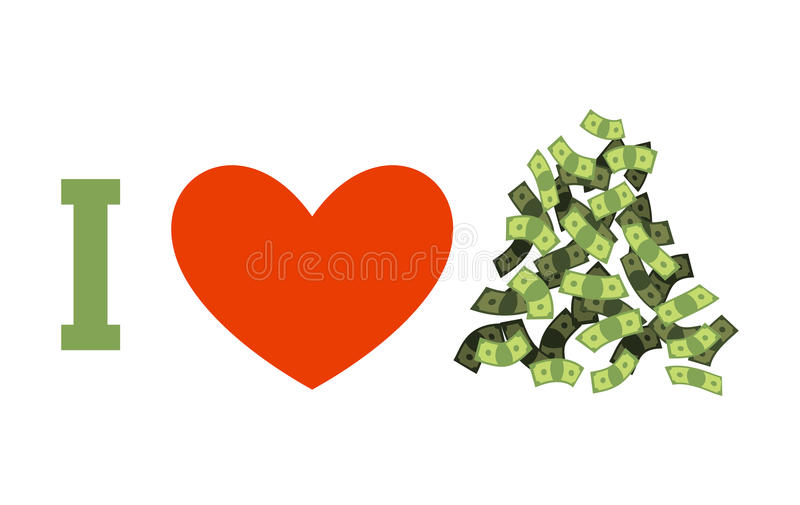 I love money. Cash and heart. Heap of dollars stock illustration