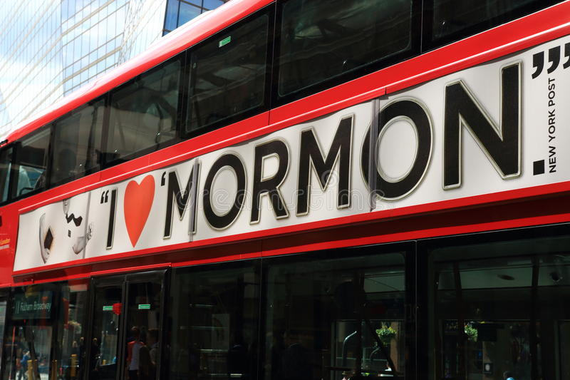I love Mormon. LONDON - JUNE 16, 2015. Red London bus with I love Mormon text. Mormon population has grown significantly in recent decades rising from around royalty free stock image
