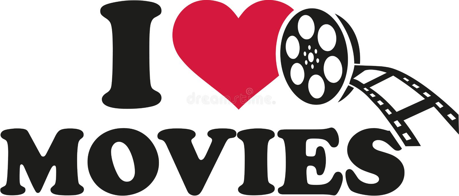 I love movies with film roll stock illustration