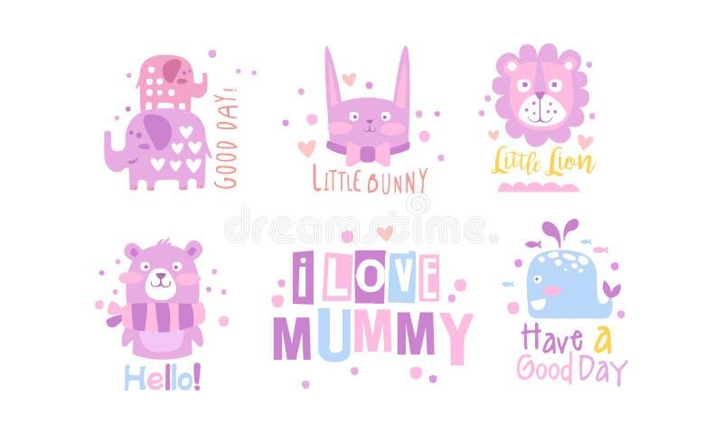 I Love Mummy Childish Prints Collection, Baby Nursery Room Decoration Elements Vector Elements illustrazione di stock