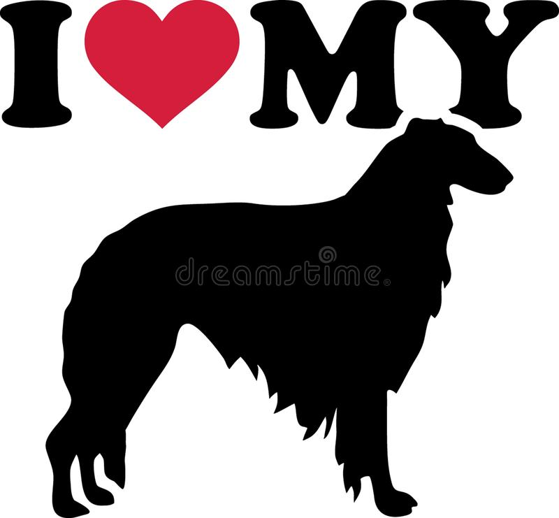 I love my Borzoi silhouette. I love my Borzoi with red heart and silhouette stock illustration