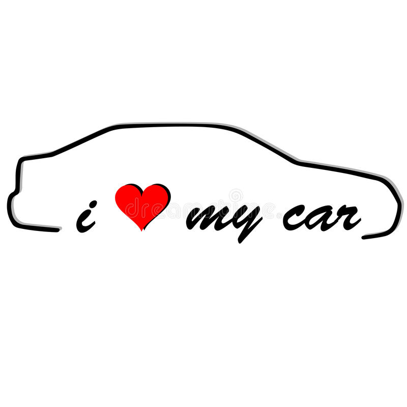 I love my car stock illustration