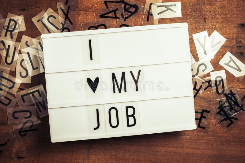 I Love My Job Sign on Lightbox royalty free stock photography