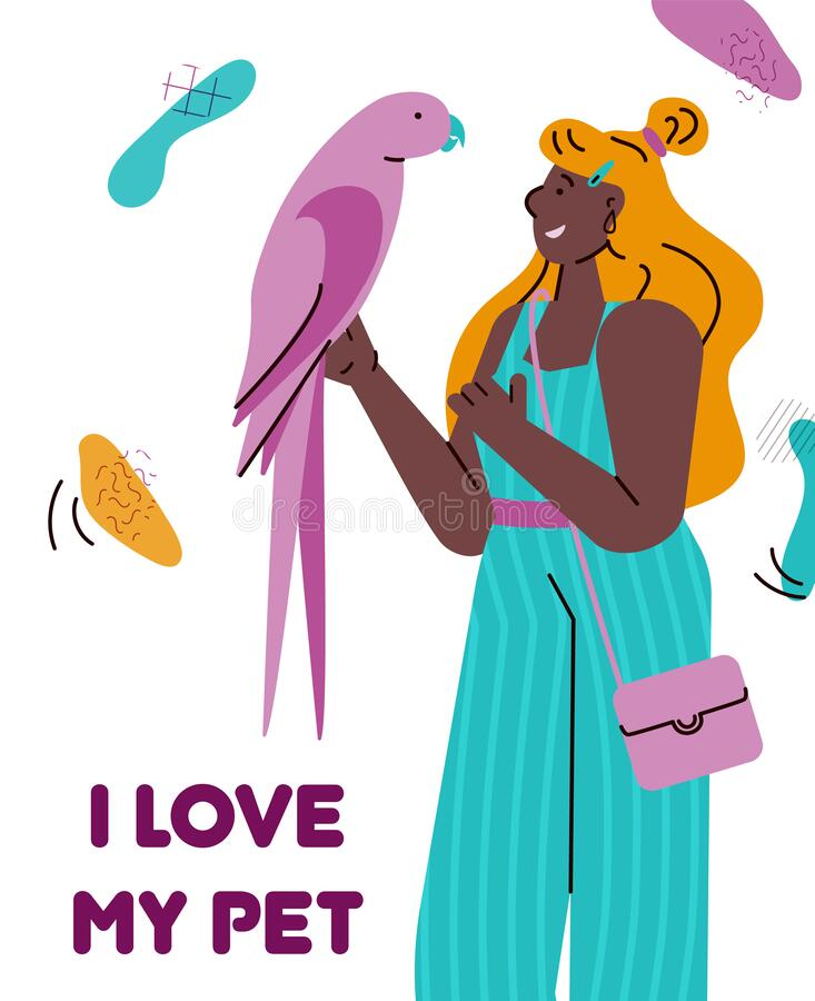 I love my pet - cartoon card with young woman holding colorful pink parrot. And smiling. Bird owner looking at beloved animal - flat isolated vector vector illustration