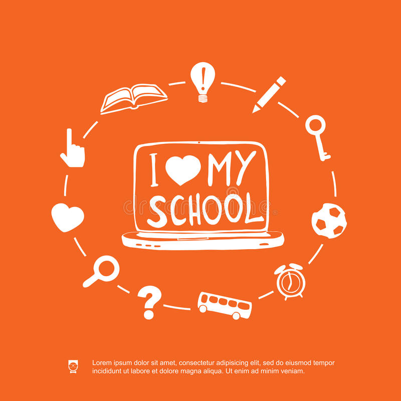 Download I love my school stock vector. Image of class, illustration - 32687879