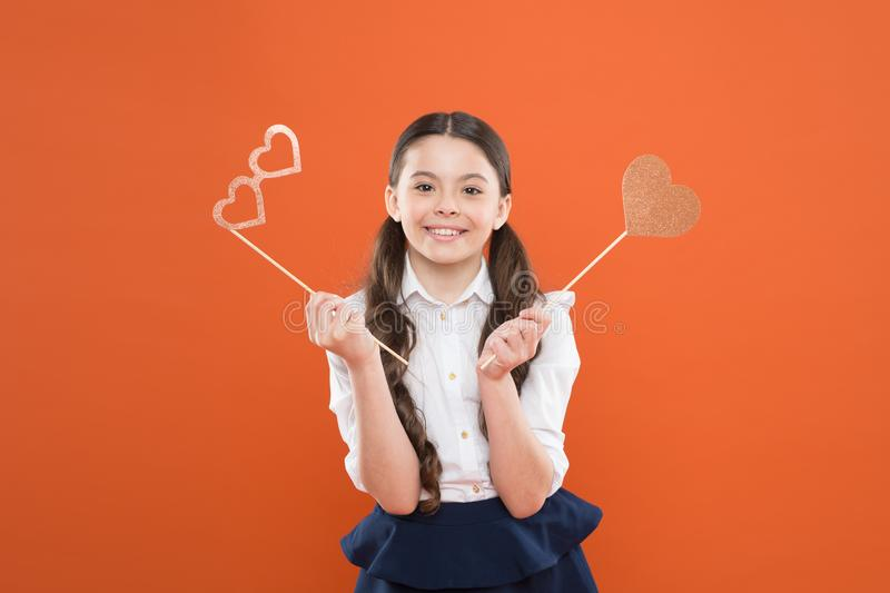 I love my school. love funny study. knowledge day. happy childhood. small girl student. school lover. school girl in stock image