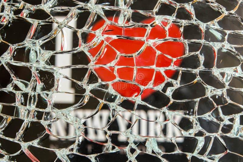 I Love New York through the broken glass stock photos