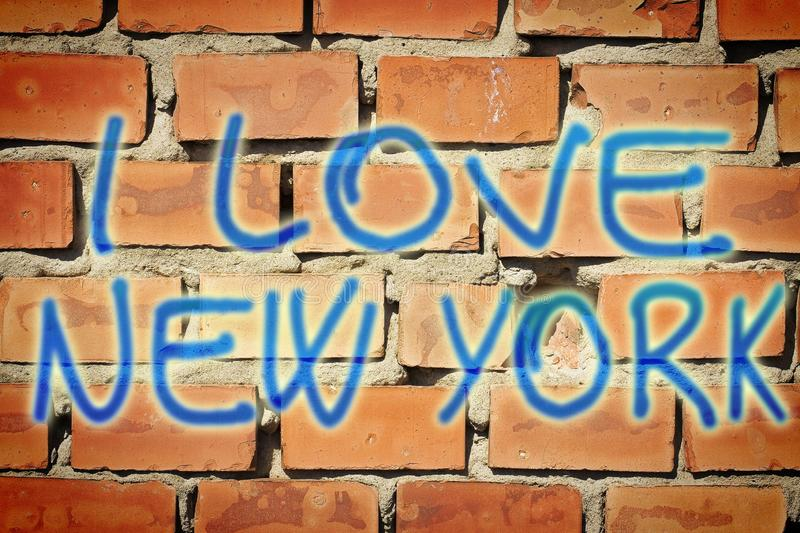 I love New York - concept image with text written on a brick wall.  royalty free stock photography