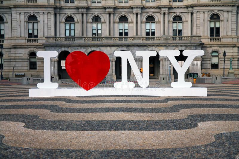I love New York. Sign in Albany downtown stock photos