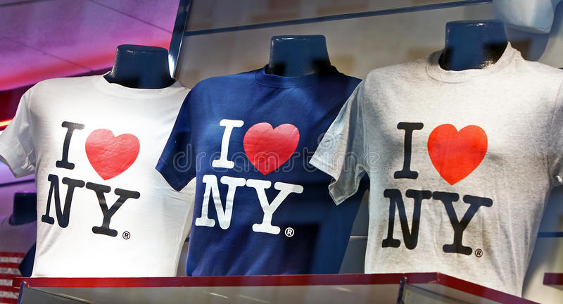 I Love New York T-shirts. Being sold in New York City. Photo Taken on Feb 20th.2011 royalty free stock photography