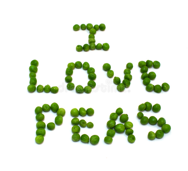 I Love Peas. Spelled out in green peas royalty free stock photos