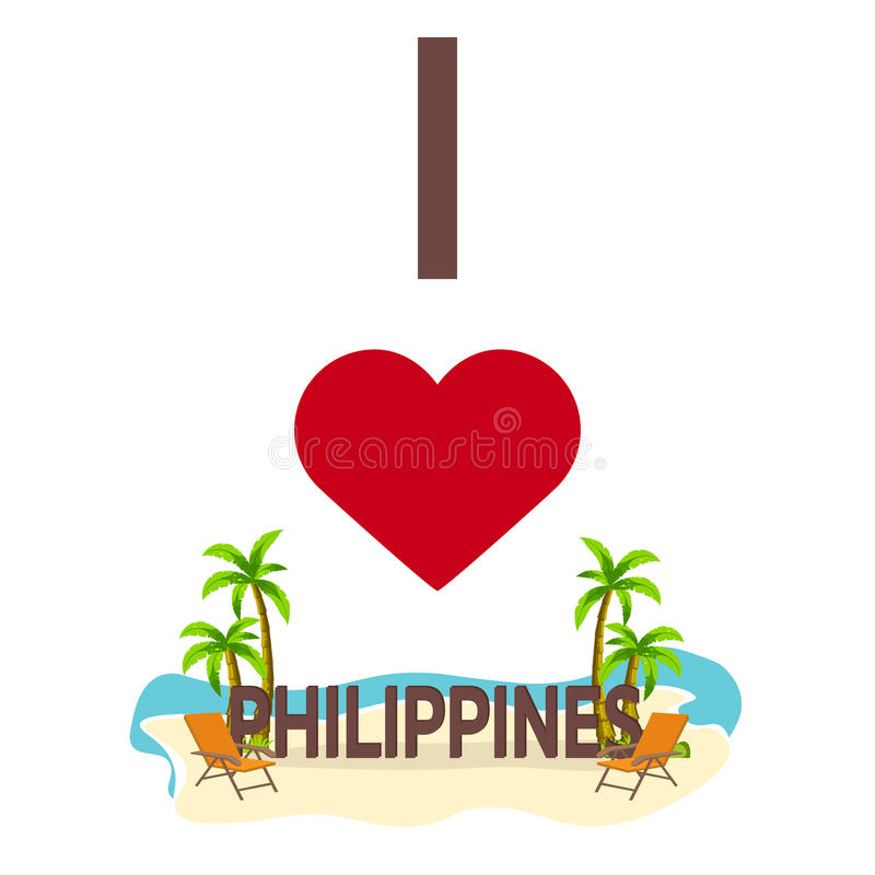 I love Philippines. Travel. Palm, summer, lounge chair. Vector flat illustration. royalty free illustration